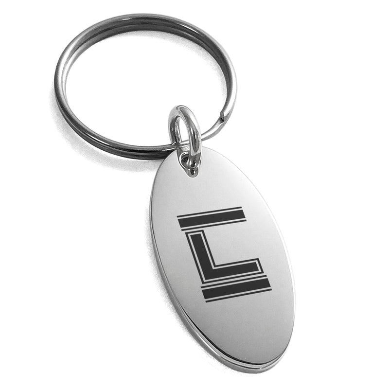 Stainless Steel Letter L Initial Empire Monogram Engraved Small Oval Charm Keychain Keyring - Tioneer