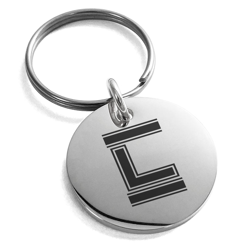 Stainless Steel Letter L Initial Empire Monogram Engraved Small Medallion Circle Charm Keychain Keyring - Tioneer