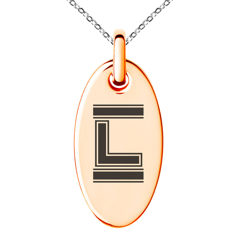 Stainless Steel Letter L Initial Empire Monogram Engraved Small Oval Charm Pendant Necklace