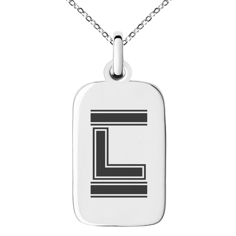 Stainless Steel Letter L Initial Empire Monogram Engraved Small Rectangle Dog Tag Charm Pendant Necklace