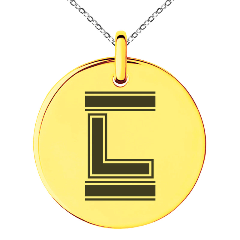 Stainless Steel Letter L Initial Empire Monogram Engraved Small Medallion Circle Charm Pendant Necklace