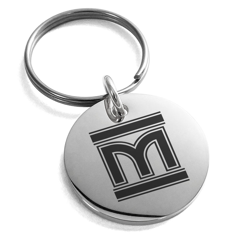 Stainless Steel Letter M Initial Empire Monogram Engraved Small Medallion Circle Charm Keychain Keyring - Tioneer