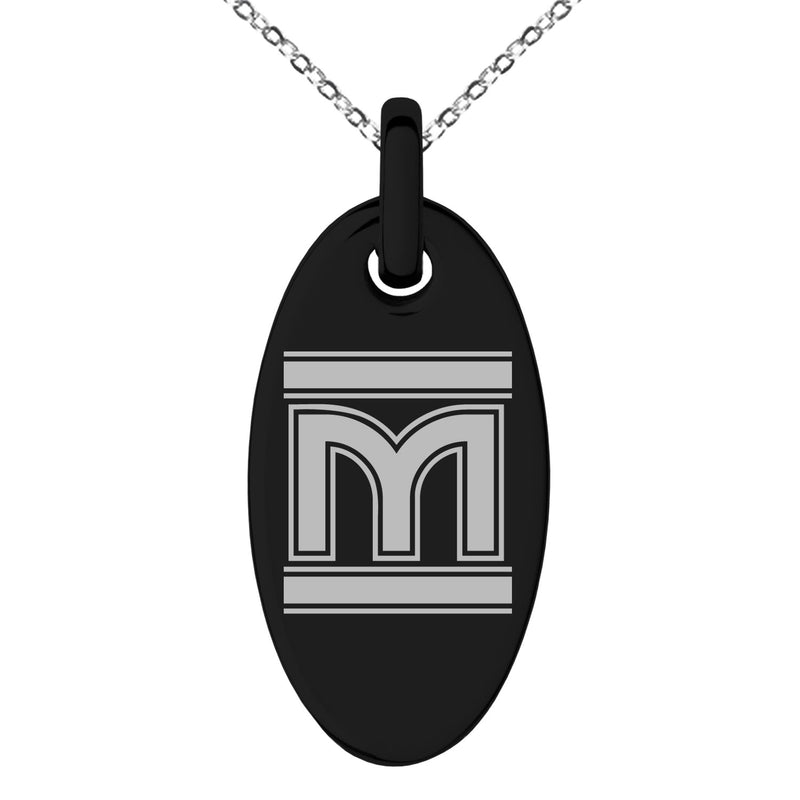 Stainless Steel Letter M Initial Empire Monogram Engraved Small Oval Charm Pendant Necklace