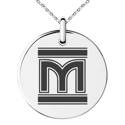 Stainless Steel Letter M Initial Empire Monogram Engraved Small Medallion Circle Charm Pendant Necklace