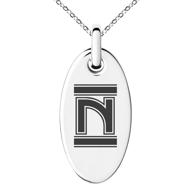 Stainless Steel Letter N Initial Empire Monogram Engraved Small Oval Charm Pendant Necklace