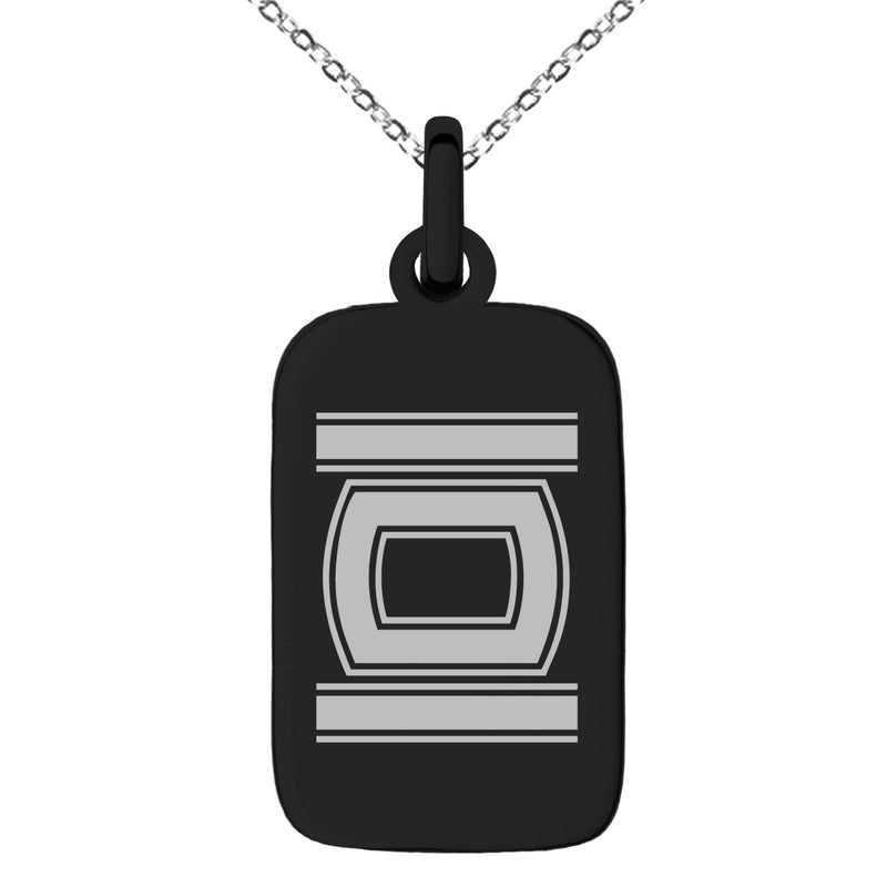 Stainless Steel Letter O Initial Empire Monogram Engraved Small Rectangle Dog Tag Charm Pendant Necklace
