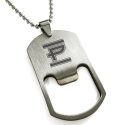Stainless Steel Letter P Alphabet Initial Empire Monogram Engraved Bottle Opener Dog Tag Pendant Necklace - Tioneer
