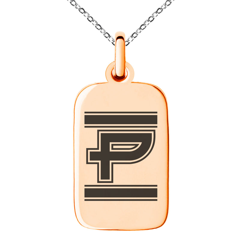 Stainless Steel Letter P Initial Empire Monogram Engraved Small Rectangle Dog Tag Charm Pendant Necklace