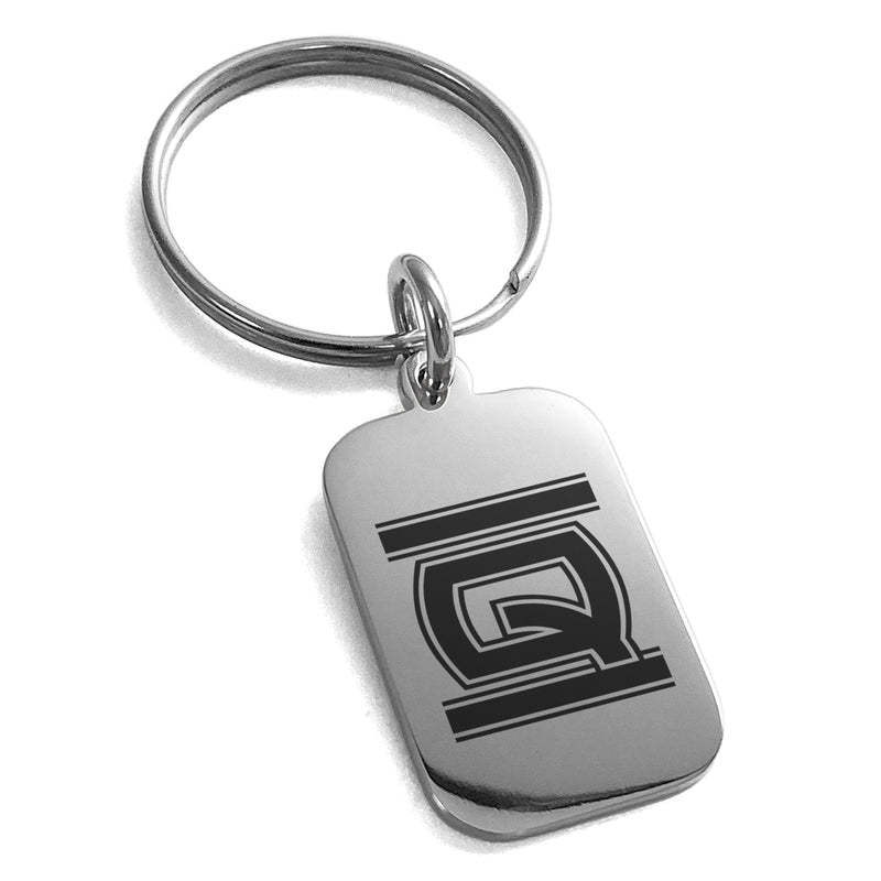 Stainless Steel Letter Q Initial Empire Monogram Engraved Small Rectangle Dog Tag Charm Keychain Keyring - Tioneer