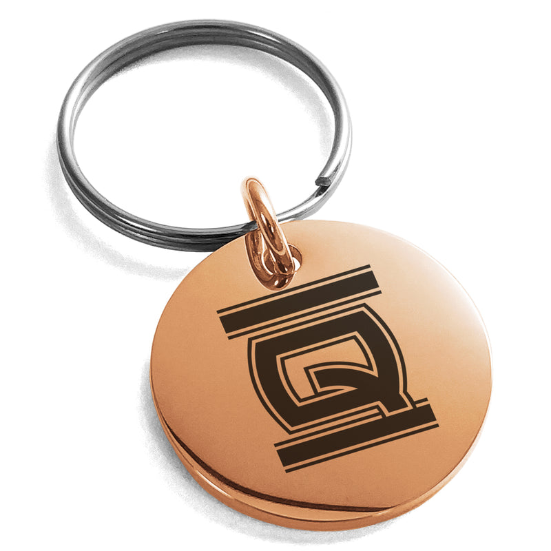 Stainless Steel Letter Q Initial Empire Monogram Engraved Small Medallion Circle Charm Keychain Keyring - Tioneer