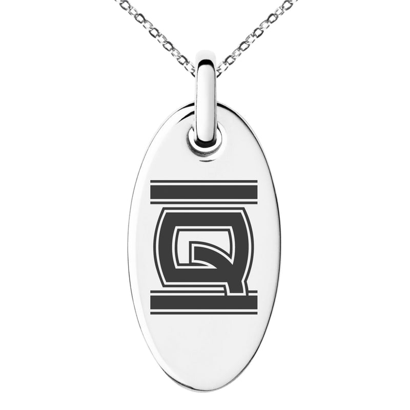 Stainless Steel Letter Q Initial Empire Monogram Engraved Small Oval Charm Pendant Necklace
