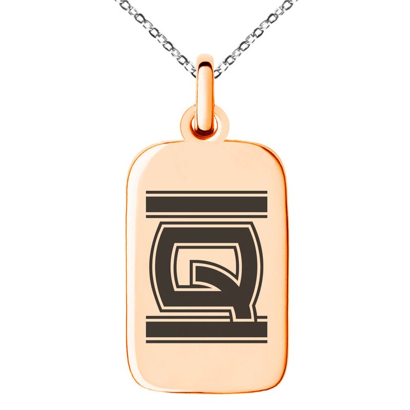 Stainless Steel Letter Q Initial Empire Monogram Engraved Small Rectangle Dog Tag Charm Pendant Necklace