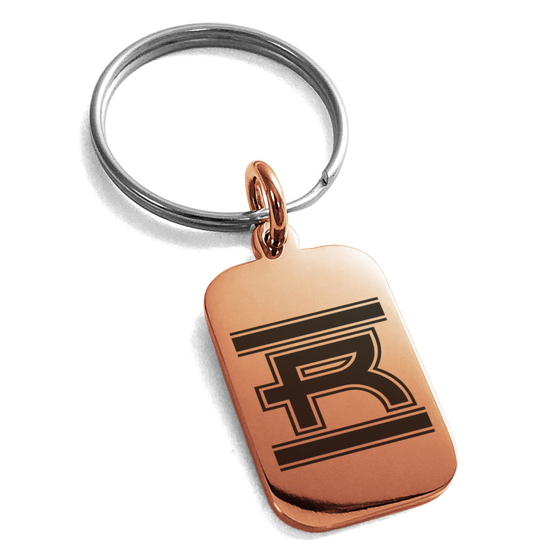Stainless Steel Letter R Initial Empire Monogram Engraved Small Rectangle Dog Tag Charm Keychain Keyring - Tioneer