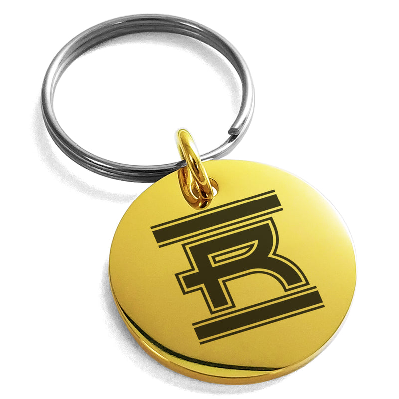 Stainless Steel Letter R Initial Empire Monogram Engraved Small Medallion Circle Charm Keychain Keyring - Tioneer