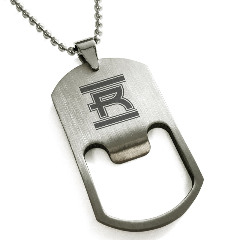 Stainless Steel Letter R Alphabet Initial Empire Monogram Engraved Bottle Opener Dog Tag Pendant Necklace - Tioneer