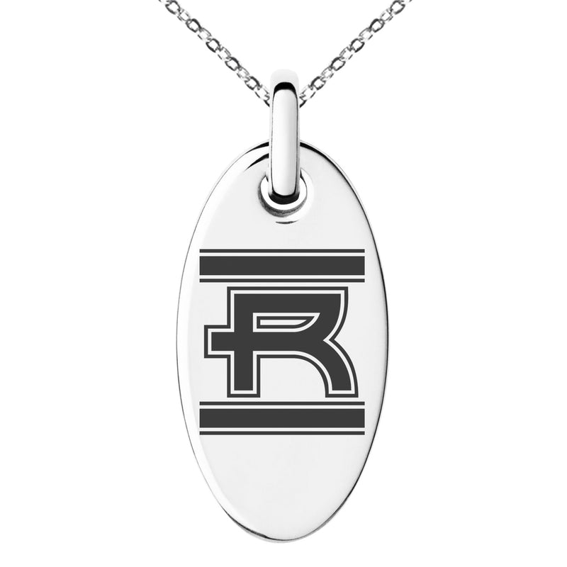 Stainless Steel Letter R Initial Empire Monogram Engraved Small Oval Charm Pendant Necklace
