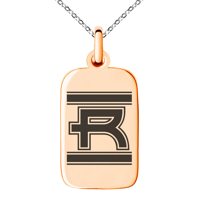 Stainless Steel Letter R Initial Empire Monogram Engraved Small Rectangle Dog Tag Charm Pendant Necklace