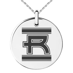 Stainless Steel Letter R Initial Empire Monogram Engraved Small Medallion Circle Charm Pendant Necklace