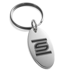 Stainless Steel Letter S Initial Empire Monogram Engraved Small Oval Charm Keychain Keyring - Tioneer