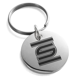 Stainless Steel Letter S Initial Empire Monogram Engraved Small Medallion Circle Charm Keychain Keyring - Tioneer