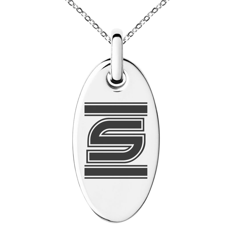 Stainless Steel Letter S Initial Empire Monogram Engraved Small Oval Charm Pendant Necklace