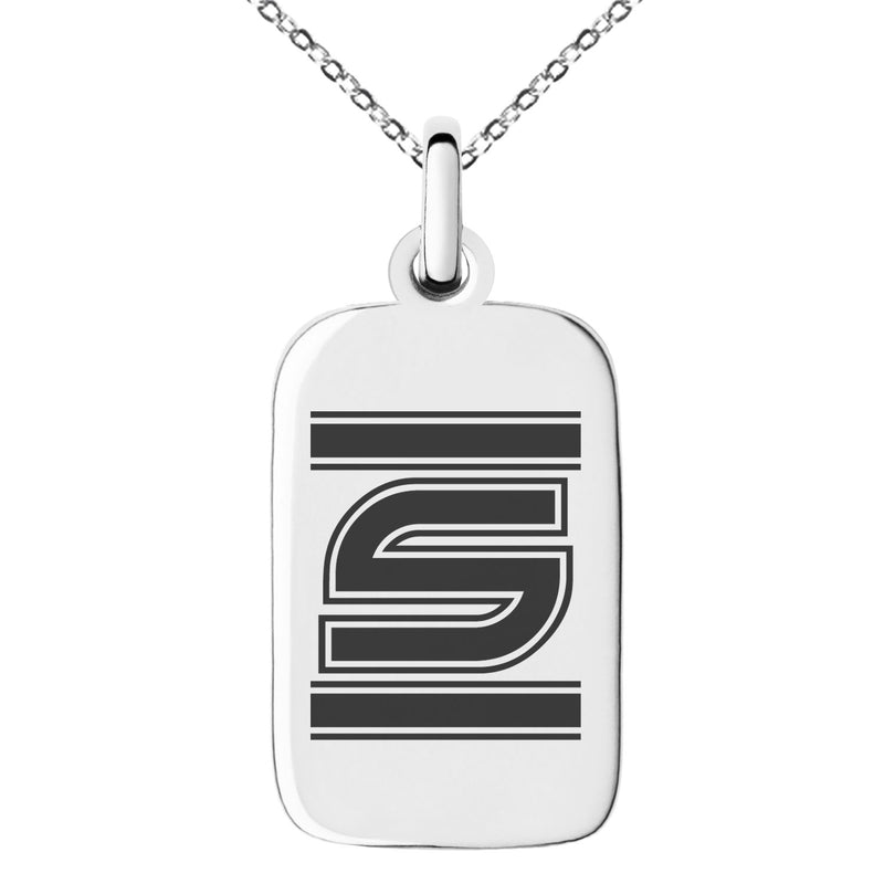 Stainless Steel Letter S Initial Empire Monogram Engraved Small Rectangle Dog Tag Charm Pendant Necklace