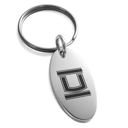 Stainless Steel Letter U Initial Empire Monogram Engraved Small Oval Charm Keychain Keyring - Tioneer