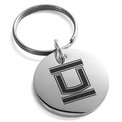 Stainless Steel Letter U Initial Empire Monogram Engraved Small Medallion Circle Charm Keychain Keyring - Tioneer
