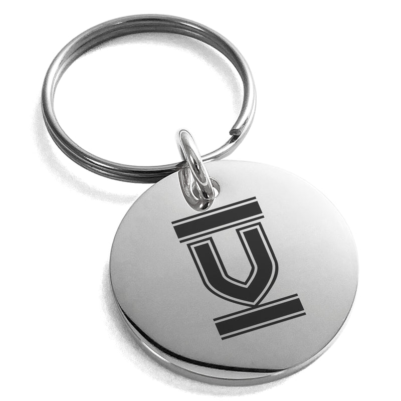 Stainless Steel Letter V Initial Empire Monogram Engraved Small Medallion Circle Charm Keychain Keyring - Tioneer