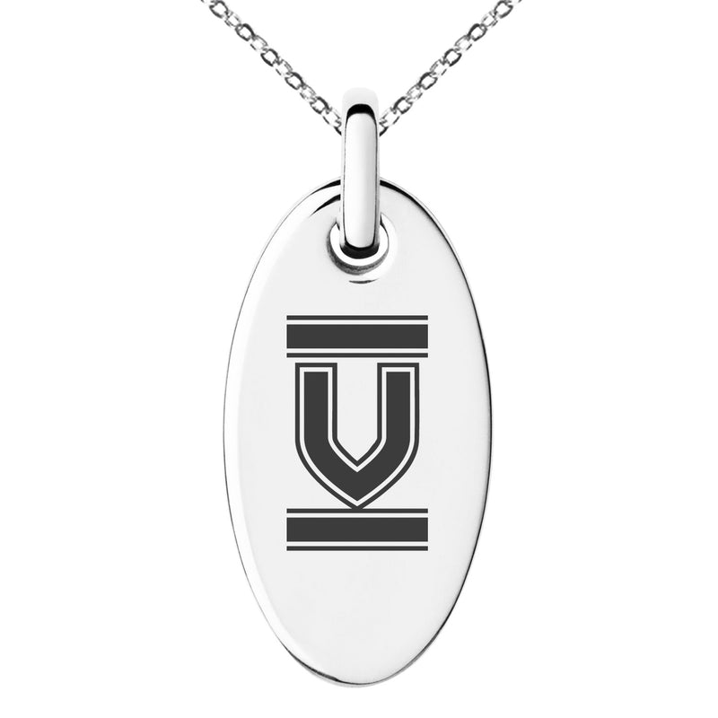 Stainless Steel Letter V Initial Empire Monogram Engraved Small Oval Charm Pendant Necklace