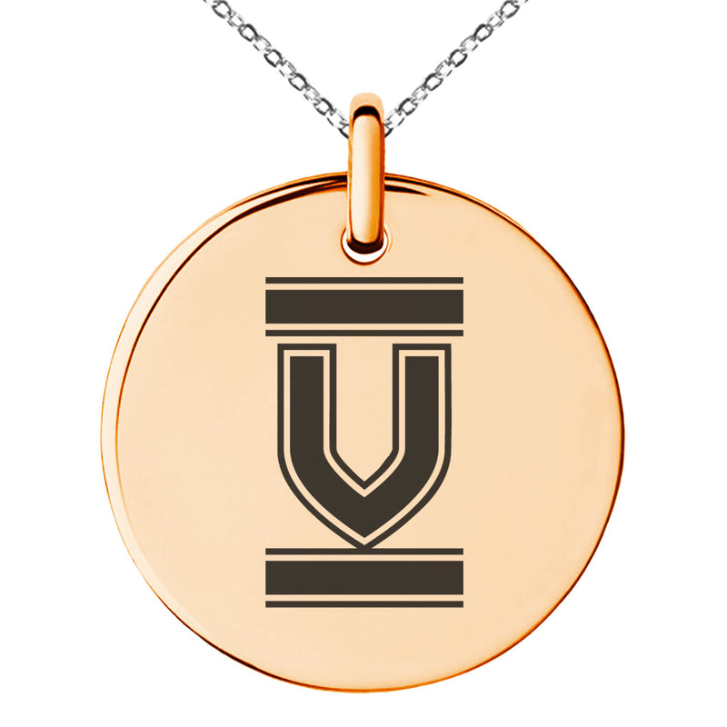 Stainless Steel Letter V Initial Empire Monogram Engraved Small Medallion Circle Charm Pendant Necklace
