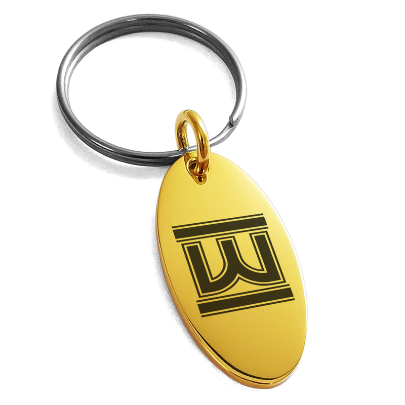 Stainless Steel Letter W Initial Empire Monogram Engraved Small Oval Charm Keychain Keyring - Tioneer
