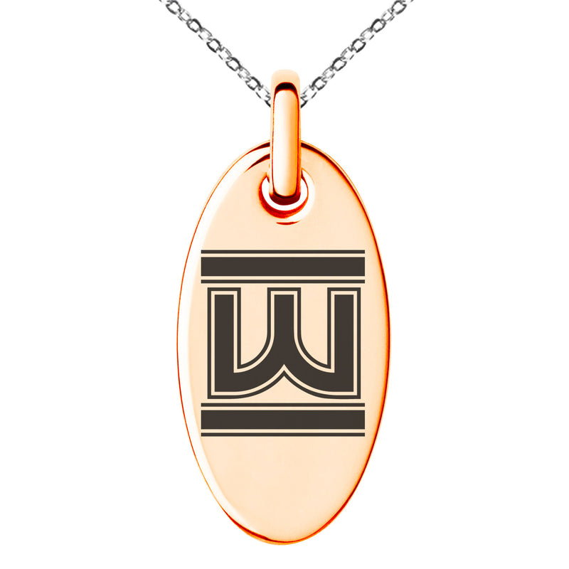 Stainless Steel Letter W Initial Empire Monogram Engraved Small Oval Charm Pendant Necklace