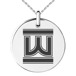 Stainless Steel Letter W Initial Empire Monogram Engraved Small Medallion Circle Charm Pendant Necklace