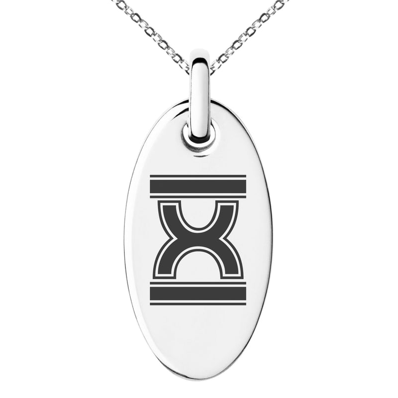 Stainless Steel Letter X Initial Empire Monogram Engraved Small Oval Charm Pendant Necklace