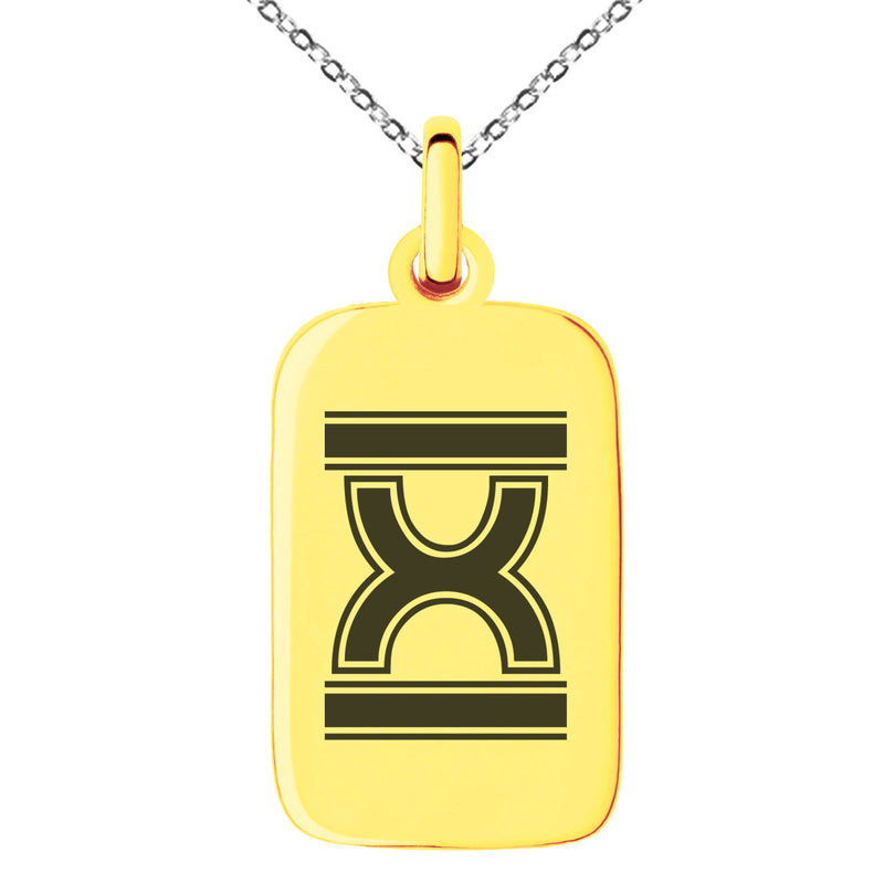 Stainless Steel Letter X Initial Empire Monogram Engraved Small Rectangle Dog Tag Charm Pendant Necklace