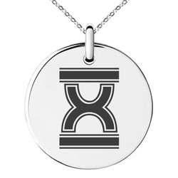 Stainless Steel Letter X Initial Empire Monogram Engraved Small Medallion Circle Charm Pendant Necklace