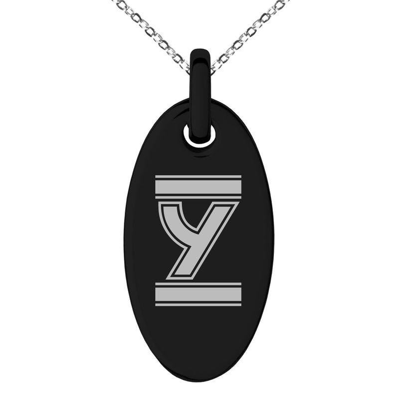 Stainless Steel Letter Y Initial Empire Monogram Engraved Small Oval Charm Pendant Necklace - Tioneer