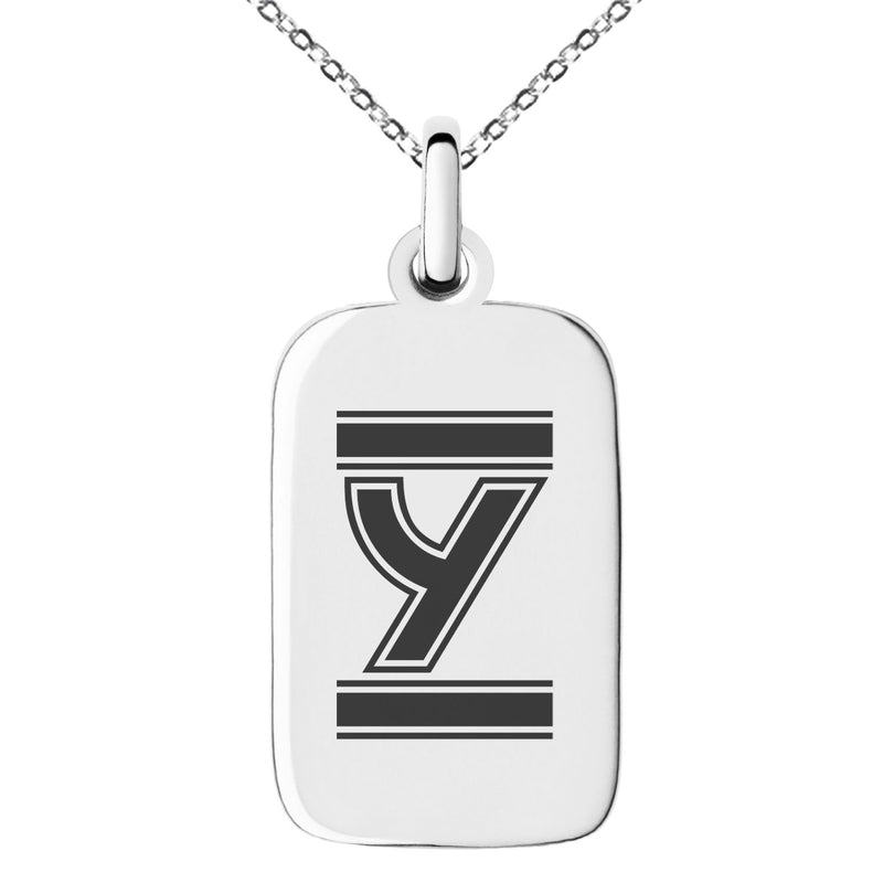 Stainless Steel Letter Y Initial Empire Monogram Engraved Small Rectangle Dog Tag Charm Pendant Necklace - Tioneer