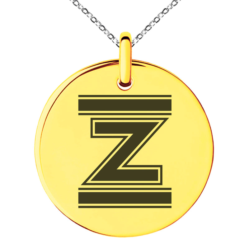 Stainless Steel Letter Z Initial Empire Monogram Engraved Small Medallion Circle Charm Pendant Necklace - Tioneer