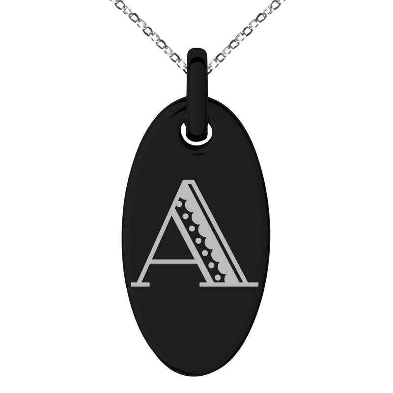 Stainless Steel Letter A Initial Metro Retro Monogram Engraved Small Oval Charm Pendant Necklace