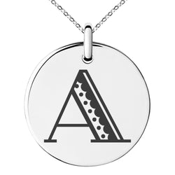 Stainless Steel Letter A Initial Metro Retro Monogram Engraved Small Medallion Circle Charm Pendant Necklace