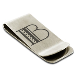 Stainless Steel Letter B Alphabet Initial Metro Retro Monogram Engraved Money Clip Credit Card Holder - Tioneer