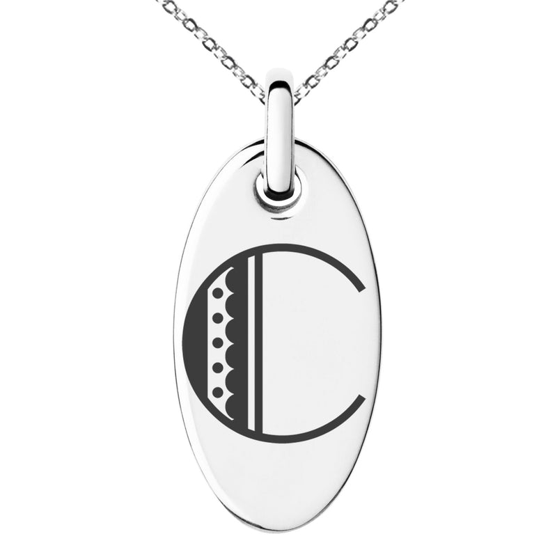 Stainless Steel Letter C Initial Metro Retro Monogram Engraved Small Oval Charm Pendant Necklace