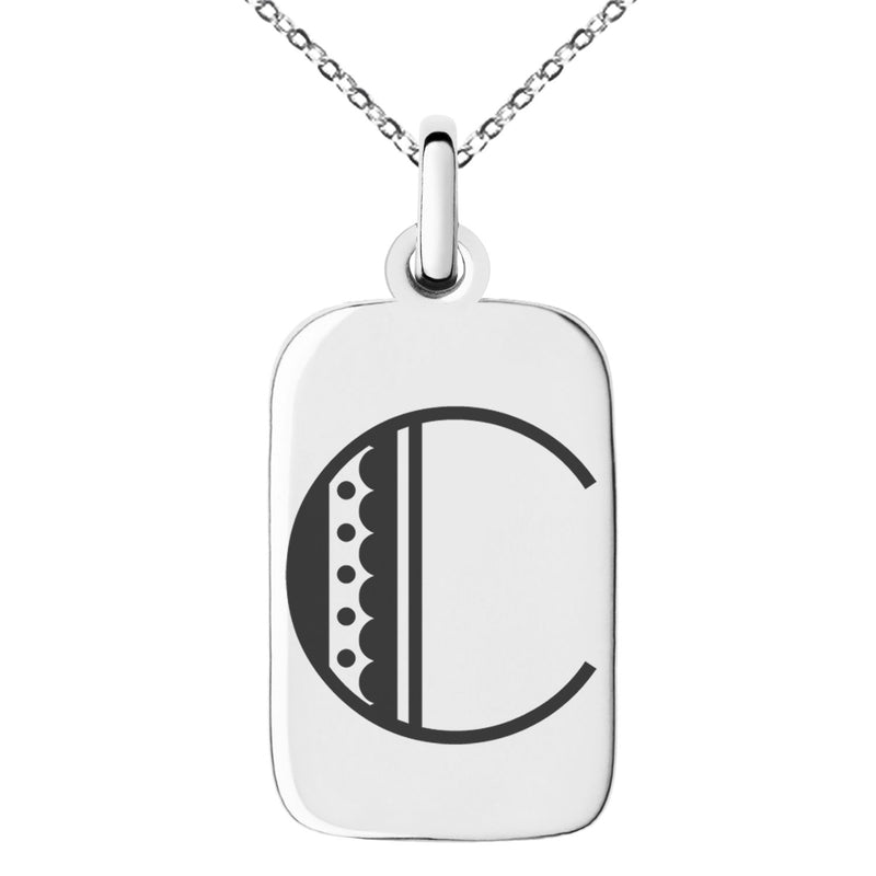 Stainless Steel Letter C Initial Metro Retro Monogram Engraved Small Rectangle Dog Tag Charm Pendant Necklace
