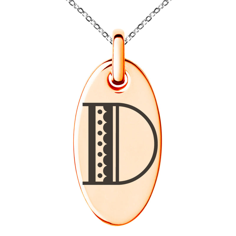 Stainless Steel Letter D Initial Metro Retro Monogram Engraved Small Oval Charm Pendant Necklace