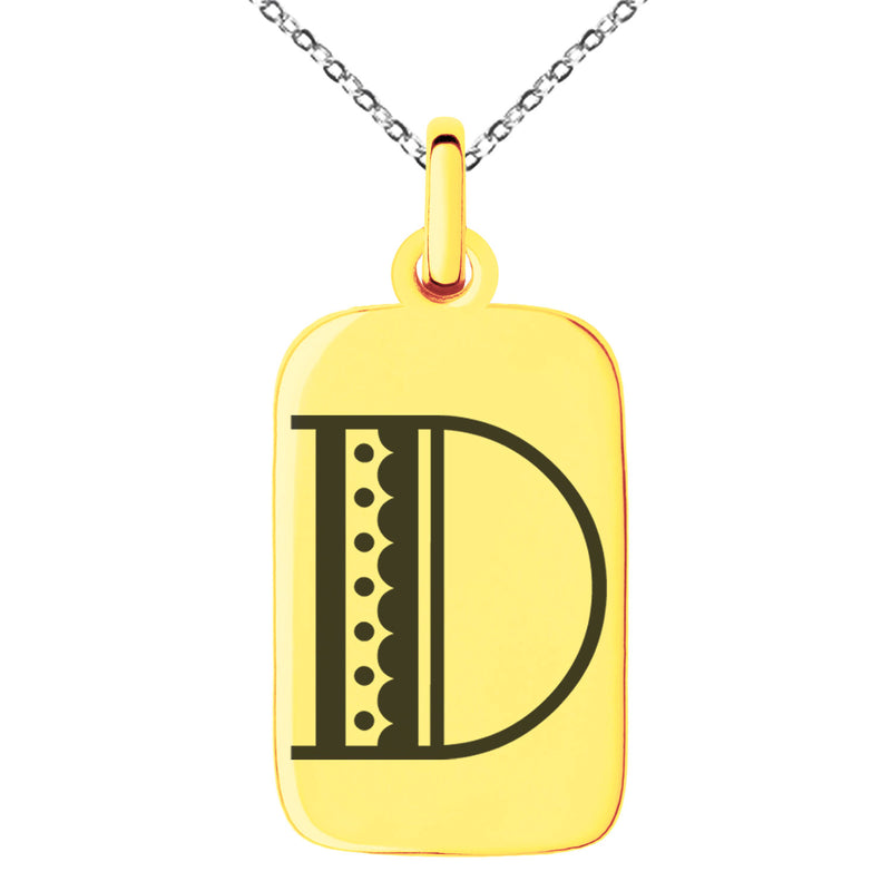 Stainless Steel Letter D Initial Metro Retro Monogram Engraved Small Rectangle Dog Tag Charm Pendant Necklace