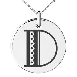 Stainless Steel Letter D Initial Metro Retro Monogram Engraved Small Medallion Circle Charm Pendant Necklace