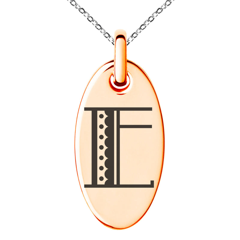 Stainless Steel Letter E Initial Metro Retro Monogram Engraved Small Oval Charm Pendant Necklace