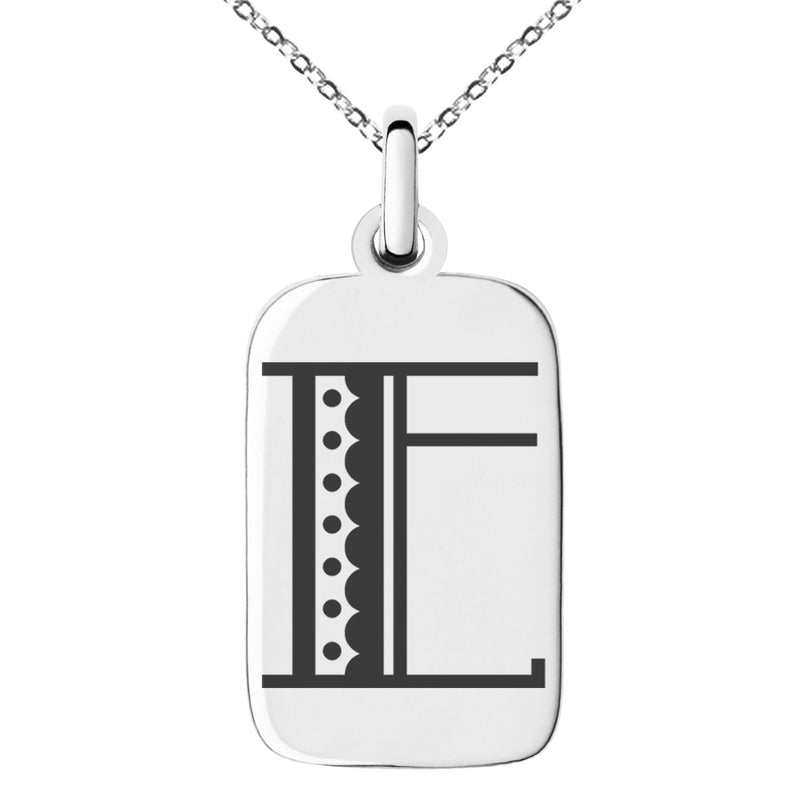 Stainless Steel Letter E Initial Metro Retro Monogram Engraved Small Rectangle Dog Tag Charm Pendant Necklace